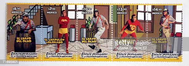 View of the series of four stamps of the well known TV characters Chavo del Ocho and Chapulin Colorado played by Mexican Roberto Gomez Bolanos on the...