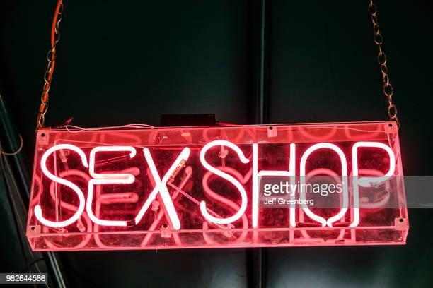 Mexico City neon sex shop sign