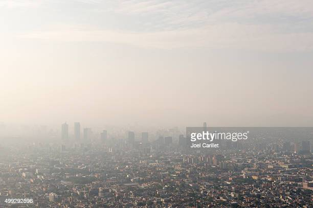 mexico city skyline and smog - smog stock pictures, royalty-free photos & images