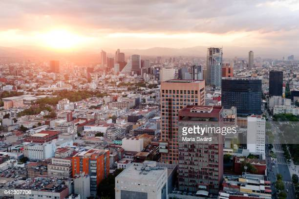 Mexico City Skyline at Sunset