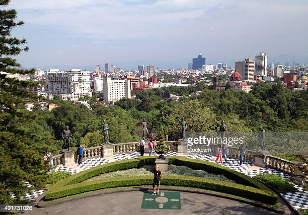 mexico city skyline from chapultepec castle - chapultepec park stock photos and pictures