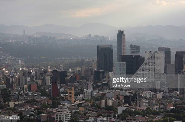 Mexico City skyline is seen through the haze from the Latino Tower on June 26 2012 in Mexico City Mexico Mexicans go to the polls to elect a new...