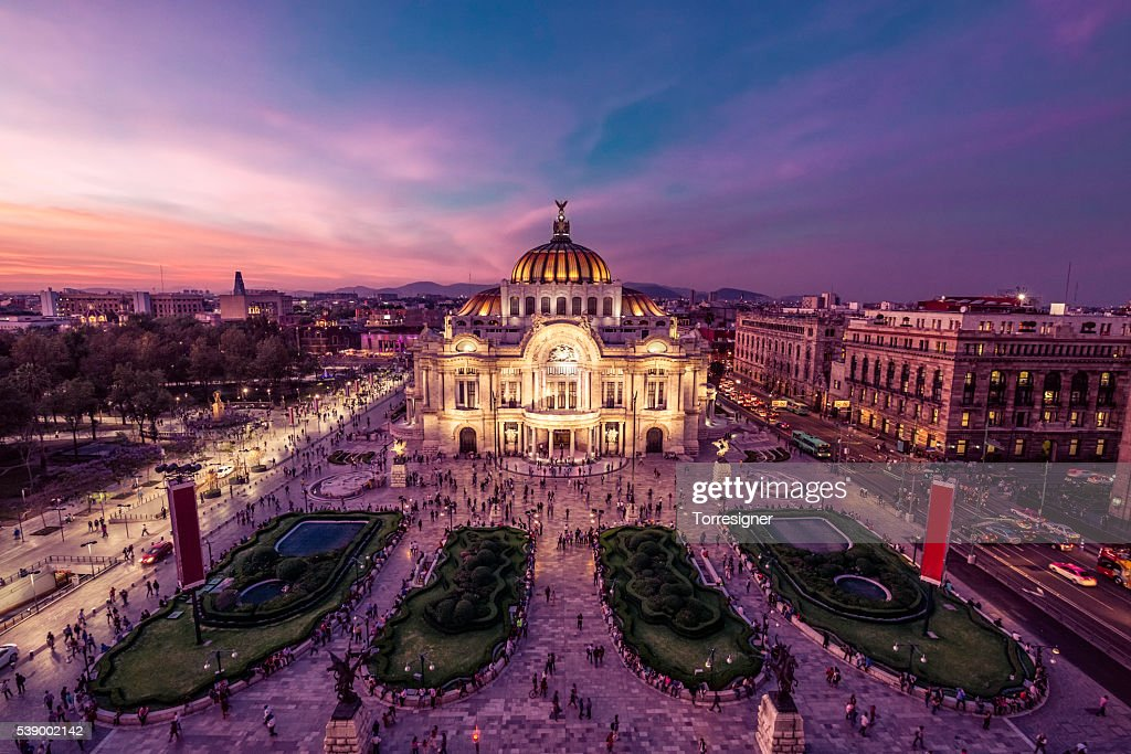 Mexico City's Downtown At Twilight : Stock Photo