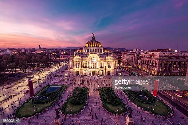 mexico city's downtown at twilight - mexico city stock pictures, royalty-free photos & images