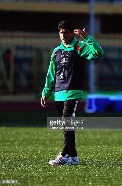 Mexico coach Jose Luis Gonzalez China gives instructions during a Mexican training session at the Teslim Balogun Stadium on October 23 2009 in Lagos...