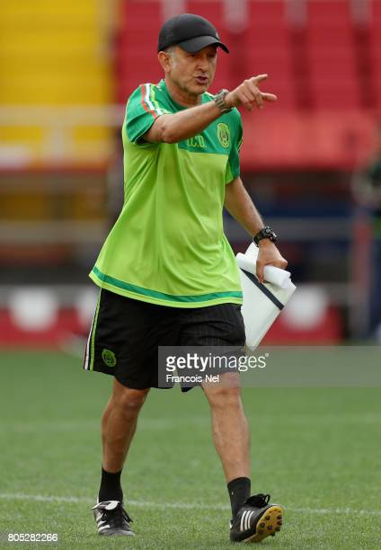 Mexico coach Juan Carlos Osorio gestures during the Mexico training session on July 1 2017 in Moscow Russia