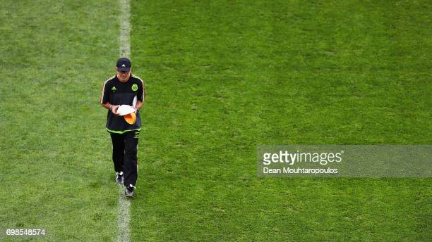 Mexico Coach Juan Carlos Osorio is pictured during the Mexico training session at the FIFA Confederations Cup Russia 2017 held at Fisht Olympic...