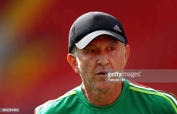 Mexico coach Juan Carlos Osorio looks on during the Mexico training sessionon July 1 2017 in Moscow Russia