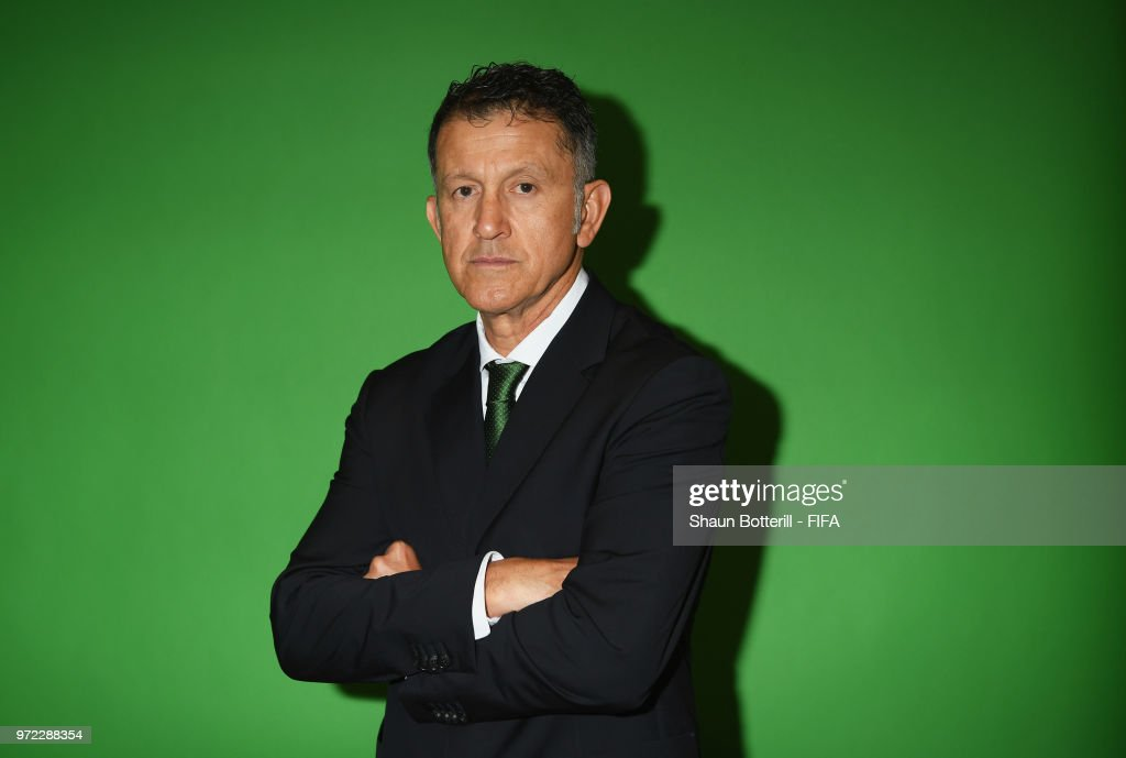 Mexico coach Juan Carlos Osorio poses for a portrait during the official FIFA World Cup 2018 portrait session at the team hotel on June 12, 2018 in Moscow, Russia.