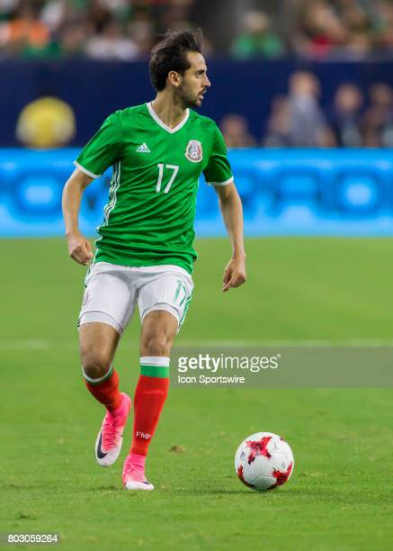 Mexico defender Raúl López looks for an open player during the Mexico vs Ghana friendly soccer match at on June 28 2017 at NRG Stadium in Houston...
