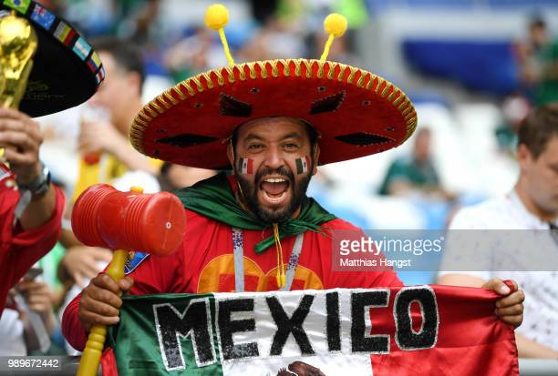 Mexico fan enjoys the pre match atmosphere during the 2018 FIFA World Cup Russia Round of 16 match between Brazil and Mexico at Samara Arena on July...