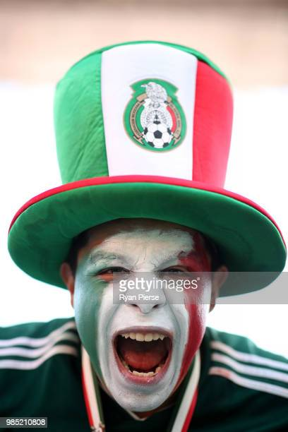 Mexico fan enjoys the pre match prior to the 2018 FIFA World Cup Russia group F match between Mexico and Sweden at Ekaterinburg Arena on June 27,...