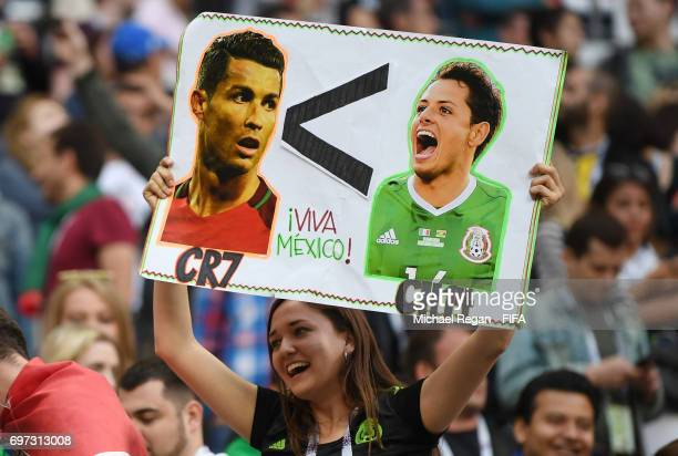 Mexico fan holds up a sign during the FIFA Confederations Cup Russia 2017 Group A match between Portugal and Mexico at Kazan Arena on June 18 2017 in...