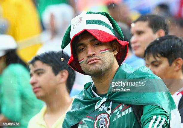 Mexico fan looks on through the rain prior to the 2014 FIFA World Cup Brazil Group A match between Mexico and Cameroon at Estadio das Dunas on June...