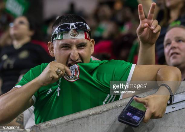Mexico fan shows of team jersey during the Mexico vs Ghana friendly soccer match at on June 28 2017 at NRG Stadium in Houston Texas