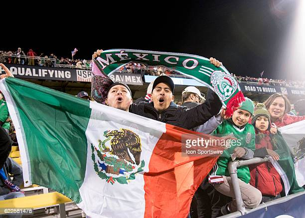Mexico fans celebrate a win over the US Men's National Team during the Final Round of 2018 World Cup Qualifier on November 11 at MAPFRE Stadium in...