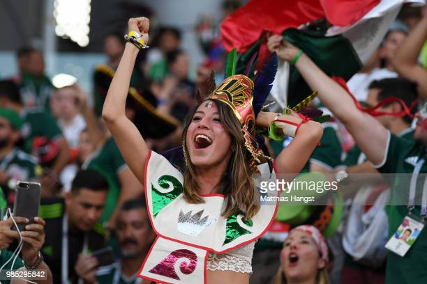 Mexico fans celebrate after hearing the news of a Korea Republic goal that will send Mexico in Round of 16 during the 2018 FIFA World Cup Russia...