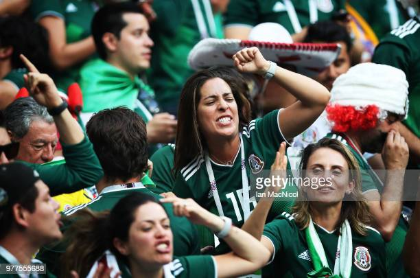 Mexico fans celebrate at full time during the 2018 FIFA World Cup Russia group F match between Germany and Mexico at Luzhniki Stadium on June 17 2018...