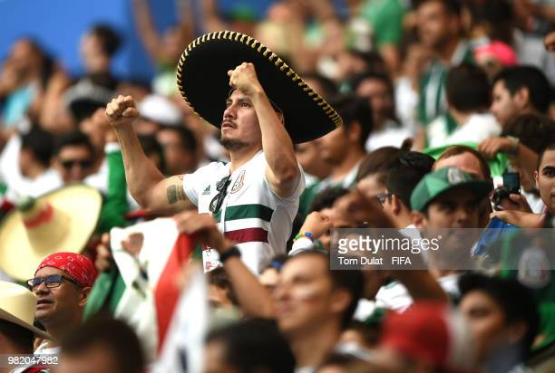 Mexico fans celebrate during the 2018 FIFA World Cup Russia group F match between Korea Republic and Mexico at Rostov Arena on June 23 2018 in...