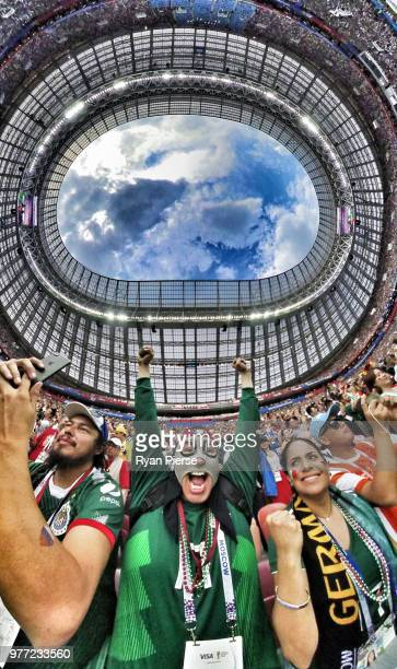 Mexico fans cheer inside the stadium prior to the 2018 FIFA World Cup Russia group F match between Germany and Mexico at Luzhniki Stadium on June 17...