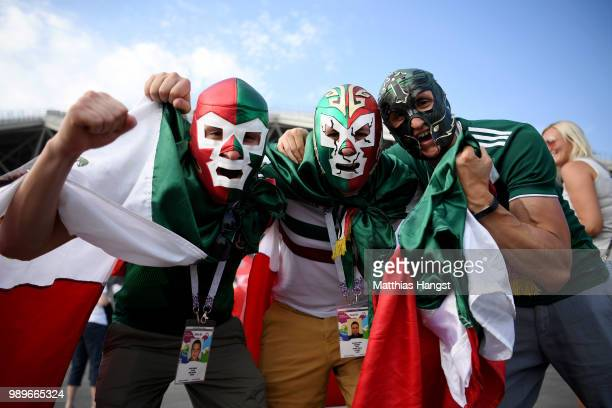 Mexico fans enjoy the pre match atmosphere during the 2018 FIFA World Cup Russia Round of 16 match between Brazil and Mexico at Samara Arena on July...