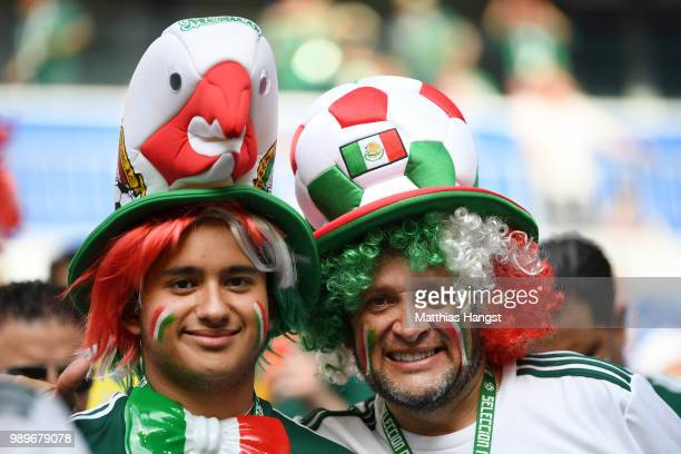 Mexico fans enjoy the pre match atmosphere prior to the 2018 FIFA World Cup Russia Round of 16 match between Brazil and Mexico at Samara Arena on...