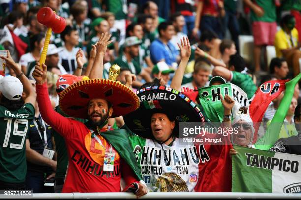 Mexico fans show their support during the 2018 FIFA World Cup Russia Round of 16 match between Brazil and Mexico at Samara Arena on July 2, 2018 in...