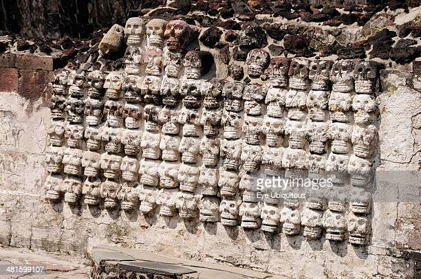 Mexico Federal District Mexico City Replica tzompantli or wall of skulls in Templo Mayor Aztec temple ruins