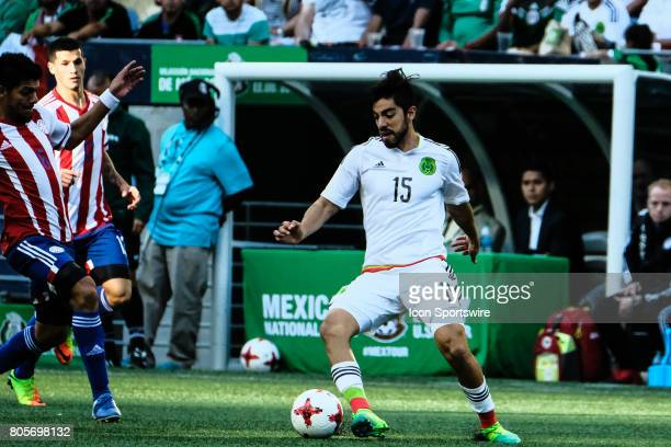 Mexico forward Rodolfo Pizarro dribbles during the Mexico vs Paraguay friendly soccer match on July 1 2017 at CenturyLink Field in Seattle Washington