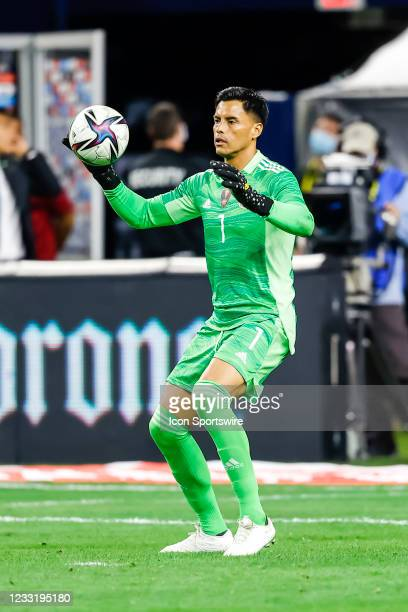 Mexico goalkeeper Alfredo Talavera fields the soccer ball during the game between Mexico and Iceland on May 29, 2021 at AT&T Stadium in Arlington,...