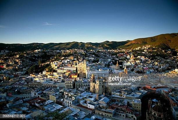 Mexico, Guanajuato, view of the Colonial silver city, elevated view