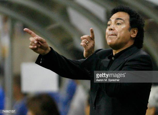 Mexico head coach Hugo Sanchez instructs his team as they play Panama during their first round match of the CONCACAF Gold Cup 2007 tournament on June...