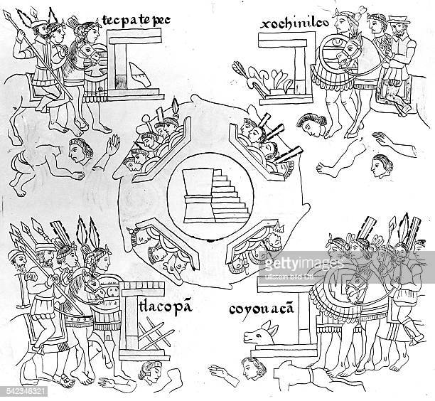 Mexico History Lienzo de Tlaxcala conquest of Tenochtitlan depicted on the linen cloth of Tlaxcala 4 army units comprising Indian and Spanish troops...