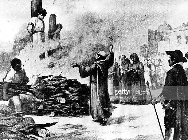 Mexico Inquisition Inquisition in Mexico burning at a stake painting 1574