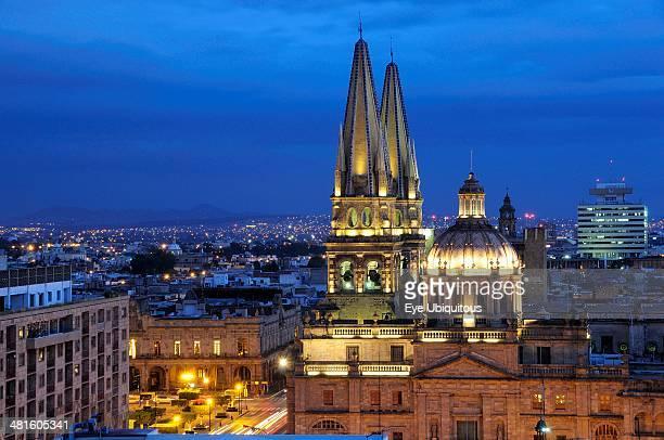 Mexico, Jalisco, Guadalajara, View of Cathedral and city at night