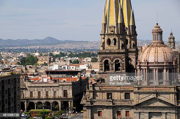 Mexico Jalisco Guadalajara View of Cathedral dome and twin spires with city to the north and Plaza Guadalajara in near distance