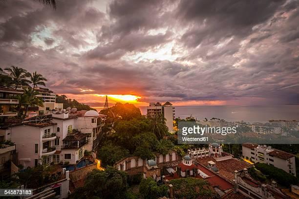 Mexico, Jalisco, Puerto Vallarta at sunset