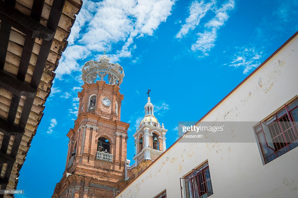Mexico, Jalisco, Puerto Vallarta, Tower of the Church of Our Lady of Guadalupe : Stock Photo