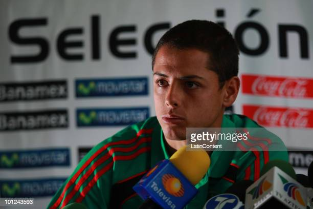 Mexico Javier Hernandez Chicharito speaks during a press conference following a Mexican National Team training session at the Ramada hotel on May 28...