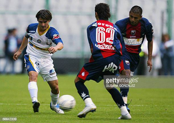 Jorge Estrada of Dorados vie the ball with Jose Maria Cardenas of Atlante during the start of the tournament Clausura 2006 of the mexican soccer...