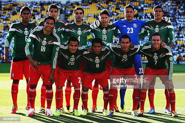 Mexico line up prior to leg 2 of the FIFA World Cup Qualifier match between the New Zealand All Whites and Mexico at Westpac Stadium on November 20...