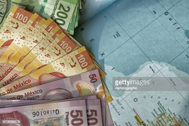 mexico map and pesos - emerging markets stock photos and pictures