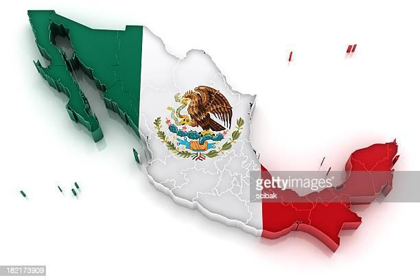 Mexiko-Karte mit Flagge