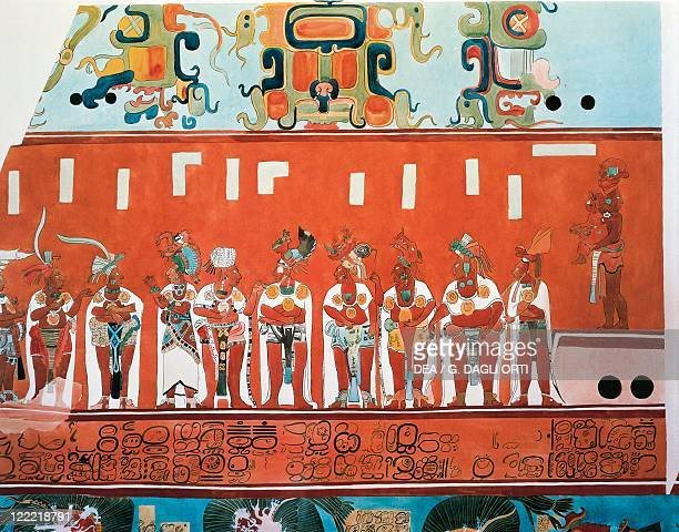 Mexico Maya civilization 9th century AD Fresco reproduction from Bonampak Clergy and rulers