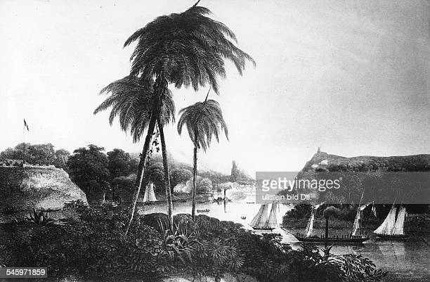 Mexico Mexican-American War Expedition of the US Navy under Commodore M. E. Perry along the Mexican east coast: ride on the Rio Tuxpan . - lithograph...