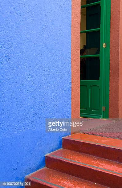 Mexico, Mexico City, Coyoacan neigborhood, Painted staircase and door