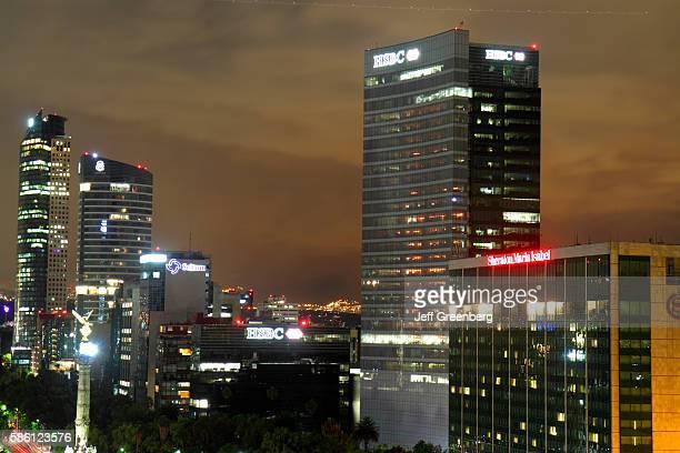 Mexico Mexico City Distrito Federal Cuauhtemoc Paseo de la Reforma night skyline Independence Monument El Angel HSB