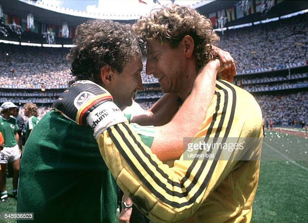 Mexico Mexico Mexico City 1986 FIFA World Cup Mexico final Argentina v Germany 32 German players Rudi Voeller and Harald Schumacher comforting each...