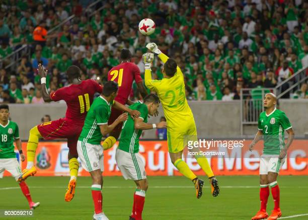 Mexico midfielder Javier Salas clears the ball during a corner kick attempt in the first half of the Mexico vs Ghana friendly soccer match at on June...