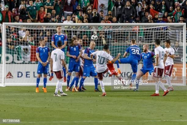 Mexico Midfielder Marco Fabian penalty kick beats Iceland Goalkeeper Runar Alex Runarsson during the first half of the international match between...